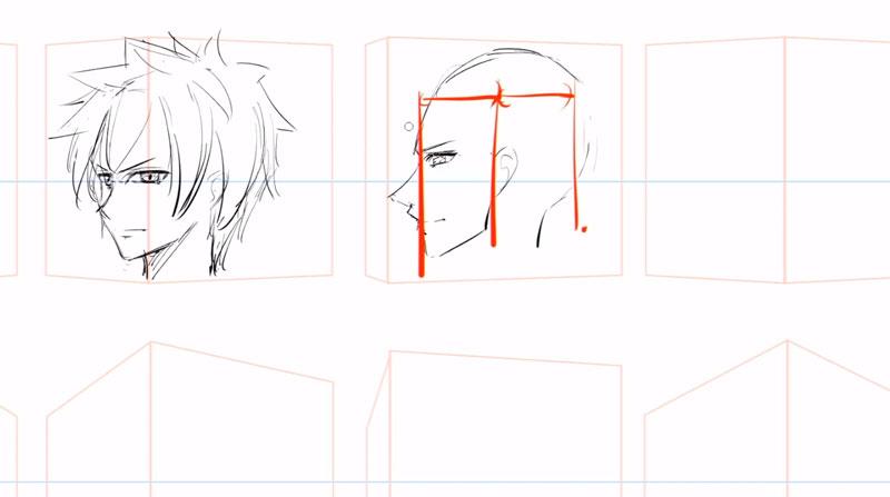 横顔など角度がついた顔の描き方練習方法